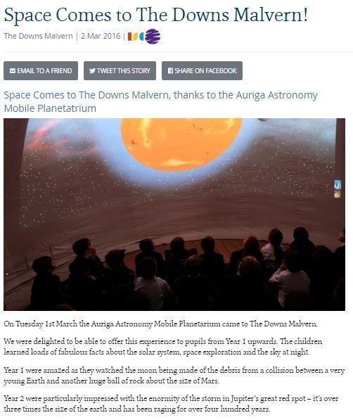 Mobile Planetarium Testimonials